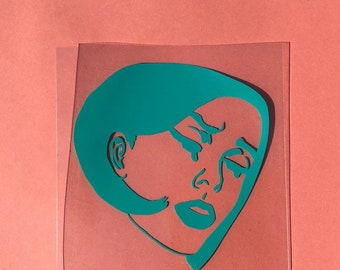 Crying Lichtenstein Lady ~ Pack of Vinyl Stickers ~ Holographic Options