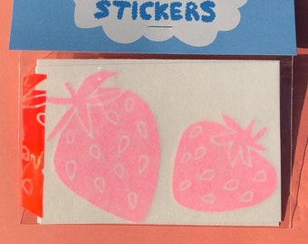 Strawberry Vinyl Stickers ~ Pink Holographic Sticker Pack of 2