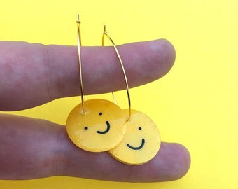 Smiley Face Hoop Earrings ~ Handmade Jewelry