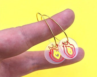 Flame Hoop Earrings ~ Handmade Jewelry