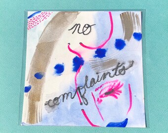"""no complaints ~ Colorful Watercolor Painting on 8"""" x 8"""" Paper"""