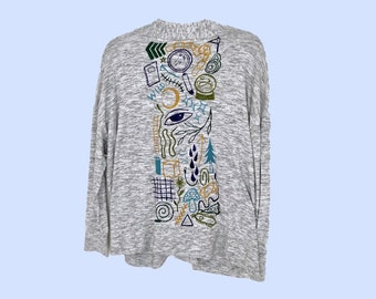 Hand Painted Gray Cardigan by Sam Pletcher