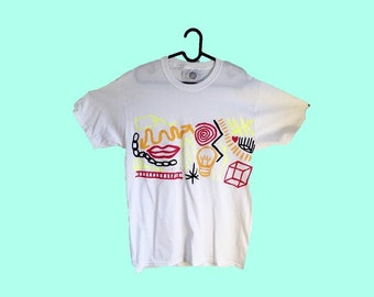 Hand Painted White Medium T-Shirt by Sam Pletcher ~ Black, Golden Yellow, Neon Yellow and Red