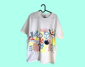 Hand Painted White Large T-Shirt by Sam Pletcher ~ Navy Blue, Neon Yellow, Orange and Turquoise
