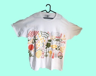 Hand Painted White XL T-Shirt by Sam Pletcher ~ Glitter, Olive Green, Orange, and Yellow