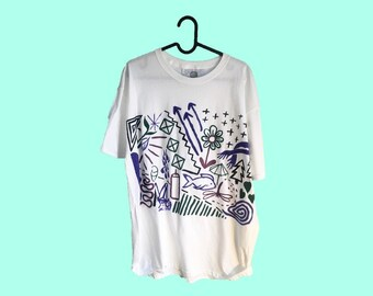 Hand Painted Large T-Shirt by Sam Pletcher ~ Black, Metallic Violet, Purple and Spruce Green