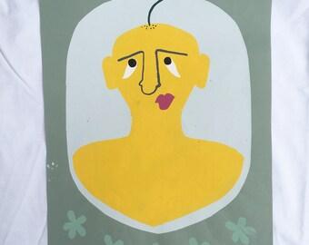 Flower Head Portrait Screenprint ~ Silkscreen Print by Sam Pletcher