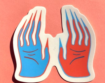 Blue Hand Red Hand Sticker ~ Matte Vinyl Sticker