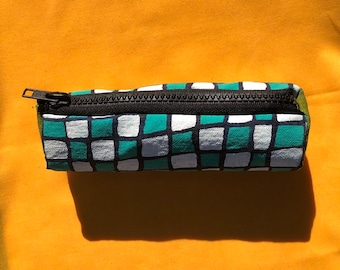 Teal and White Checkered Pouch ~ Handsewn Pencil Bag