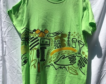 Painted Neon Green T-Shirt by Sam Pletcher /  Hand Painted Artist Clothing / One of a Kind Art / Slight Damage Discount
