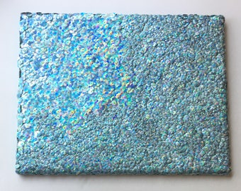 "Blue ~ Hand Sewn Sequins on  11"" x 14"" Canvas ~ Fine Art"