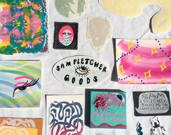 GRAB BAG! 〰 Art / Painting Pack 〰 Multiple items 〰 Watercolor, Gouache, Marbled Paintings, Prints, Stickers, etc.!