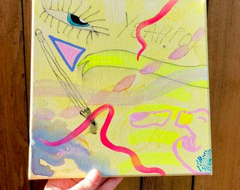 "Slice ~ Acrylic and Watercolor Painting 10"" x 10"" on Canvas ~ Art by Sam Pletcher"