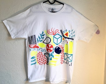 Painted White T-Shirt by Sam Pletcher 〰 Hand Painted One of a Kind Adult Large Shirt 〰 Navy Blue, Neon Yellow, Orange and Turquoise