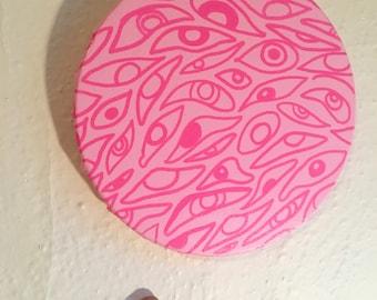 "Pink Eye 〰 9"" Circular Canvas Acrylic Painting 〰 Art by Sam Pletcher"