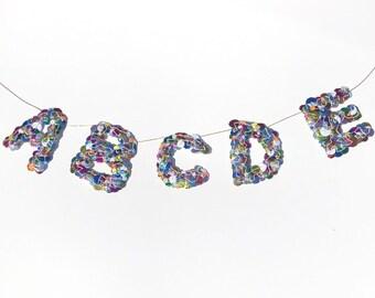 Alphabet Sequin Banner ~ Handmade ABCDE Garland