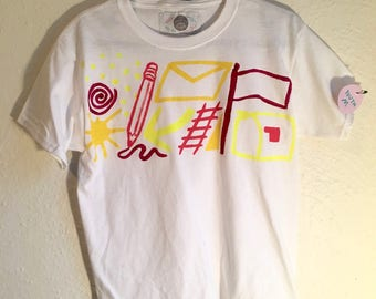 One of a Kind Youth Medium T Shirt Hand Painted  by Sam Pletcher