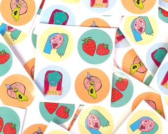 Art Sticker Sheet ~ Designed and Illustrated by Sam Pletcher ~ High Quality Water Resistant