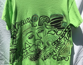 Painted Green Neon T-Shirt by Sam Pletcher /  Hand Painted Artist Clothing / One of a Kind Art / Art and Fashion