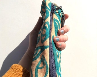 Peach and Teal Handmade Pencil Pouch ~ Painted and Sewn by Hand ~ Sam Pletcher Goods