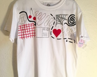 One of a Kind Youth Large T Shirt Hand Painted  by Sam Pletcher