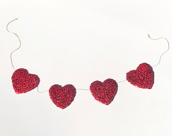 Large Sequin Heart Banner ~ Handmade Garland