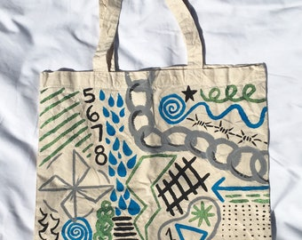 Tote Bag / Handpainted Cotton Bag by Sam Pletcher / 15 inches By 15 inches / Black, Blue, Gray and Green
