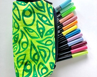 Lime Green Handmade Pencil Pouch ~ Sam Pletcher Goods