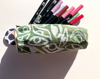 Metallic Green and White Handmade Pencil Pouch ~ Painted and Sewn by Hand ~ Sam Pletcher Goods