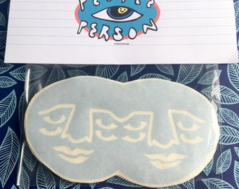 Four-Eyed Double Face Sticker Pack ~ Baby Blue Vinyl Stickers, pack of 2