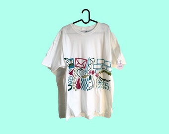 Hand Painted White Large T-Shirt by Sam Pletcher ~ Maroon, Olive Green, Spruce Green and Turquoise