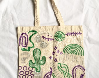 Glittery Tote Bag ~ Hand Painted Cotton Bag by Sam Pletcher