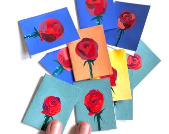 Miniature Painted Rose Greeting Cards