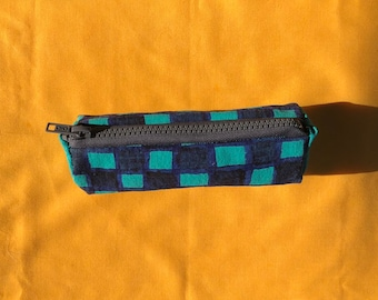 Teal and Navy Checkered Pouch ~ Handmade Pencil Bag