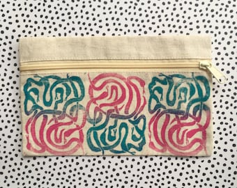 """Zipper Pouch (5.5"""" by 9"""") Hand Printed Lino Cut With Snake Images / Canvas Bag"""