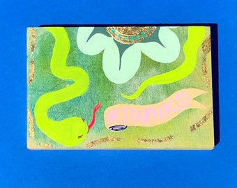 """Hey, Thanks! ~ 4"""" by 6"""" Wood Panel Painting with Gold Leaf by Sam Pletcher"""