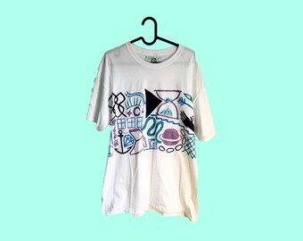 Hand Painted White Large T-Shirt by Sam Pletcher ~ Metallic Lilac, Navy Blue, Sky Blue and Turquoise