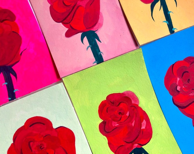 Featured listing image: Colorful Rose Painting on Paper