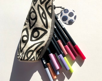 Black and White Hand Made Pencil Pouch ~ Painted and Sewn by Hand ~ Sam Pletcher Goods