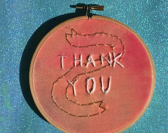 Thank You Embroidery On Sunset Colored Velvet With Metallic Gold Banner