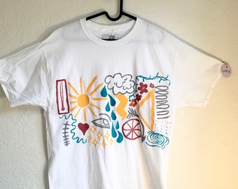 Painted White T-Shirt by Sam Pletcher 〰 Hand Painted One of a Kind Adult Large Shirt 〰 Gray, Metallic Red, Turquoise and Yellow