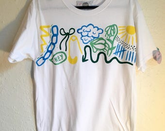 Painted White T-Shirt by Sam Pletcher 〰 Hand Painted 1 of a Kind Adult Small Shirt 〰 Lemon Yellow, Metallic Green, Sky Blue and Spruce Green