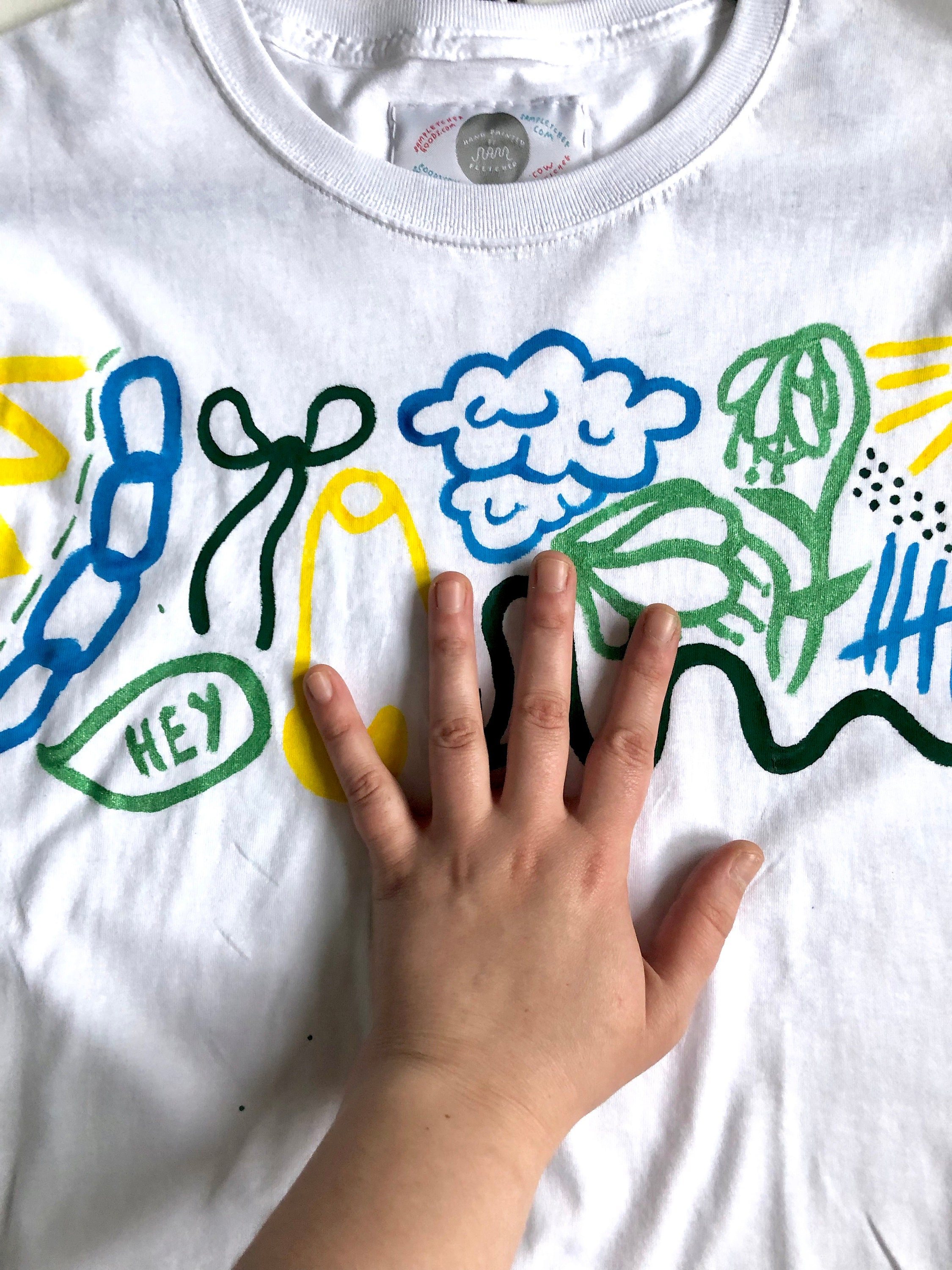 8efffa6698d Hand Painted White Small T-Shirt by Sam Pletcher ~ Lemon Yellow ...