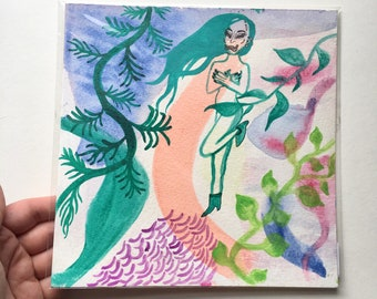 "Ivy ~ Colorful Watercolor Painting with Glimmer on Artist Grade Paper 8""x8"" ~ Nude Figure Art ~ Available Framed"