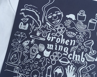 Broken Wing Club / Screen Print by Sam Pletcher / White and Navy Blue Silkscreen