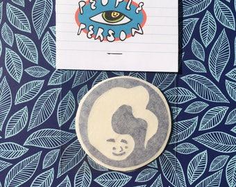 Smiling Lil Buddy in Negative Space Vinyl Sticker Pack 〰 Artist Made Sticker Pack 〰 Pack of 3 Waterproof Navy Blue/Leaf Green Vinyl Stickers