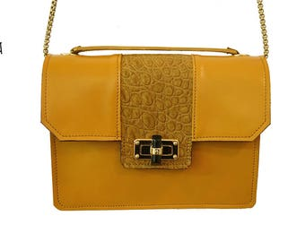 "handbag ""MARCELLO"" saffron yellow leather and crocodile mustard"