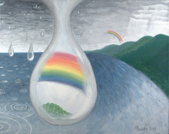 "PROMISE - 16""x20"" Original Painting Surreal Rainbow Fine Art"