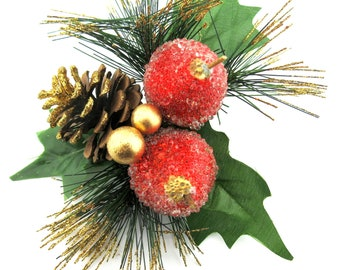 Christmas Ribbon Pin Snow Covered Pine Cone Brooch Pine Branch Brooch