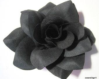 Silk rose lapel pin etsy 45 black rose flower poly silk brooch pin mightylinksfo